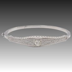 Edwardian 14KT White Gold & Diamond Filigree Bangle