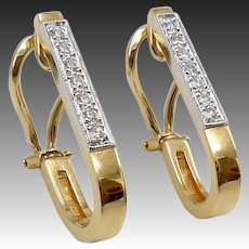 Vintage14KT Gold & Diamond Frere Earrings