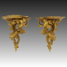 Art Deco Italian Gold Leaf Decorative Plinths or Wall Shelf