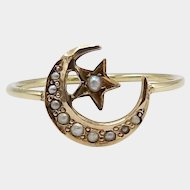10KT Gold & Pearl Moon and Star Ring