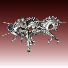 Vintage Renaissance Faire Sterling Silver Unicorn Hair Barrette