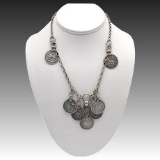 Vintage Sterling Silver Persian Coin Necklace