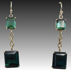 18KT Gold Green-Blue Tourmaline Earrings