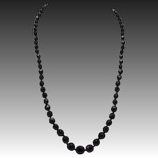 French Victorian Era Hand-Faceted Jet Necklace