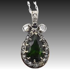 Georgian-Era Diamond and Chrome Green Paste Pendant