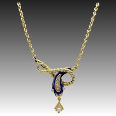 Early Victorian 14KT Gold, Enamel, Pearl & Diamond Snake Necklace