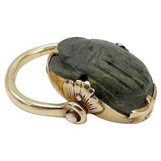15KT Gold Egyptian Revival Carved Stone Scarab Ring
