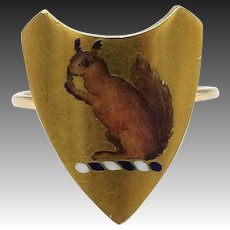 18K Gold Hand Painted Enamel Squirrel Ring with14K Gold Band