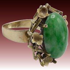 Vintage 14KT Gold Modernist Jade Ring