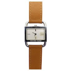 Vintage Hermes Etrier Stainless Steel Watch
