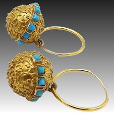 18KT Gold Cannetille Turquoise Etruscan Revival Earrings