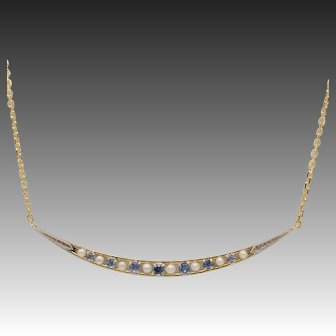 14kt Yellow and White Gold, Sapphire and Seed Pearl Crescent Moon Necklace