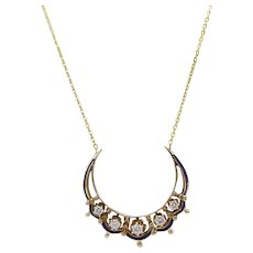 14kt Gold, Blue Enamel, and Diamond Crescent Moon Necklace