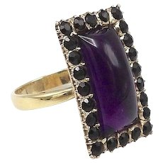 12 K Gold, Amethyst Cabochon Ring with Black Jet