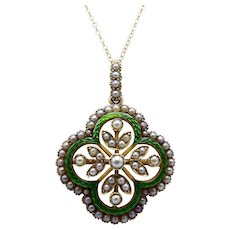 15 Ct Gold Victorian Quatrefoil Pearl and Enamel Pendant Brooch