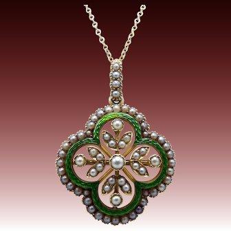15 Ct Gold Victorian Quatrefoil Pearl and Enamel Pendant Brooch