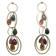 Vintage 14KT Gold Briolette Tourmaline Earrings