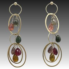 Vintage 14KT Gold Briolette Tourmaline Earrings