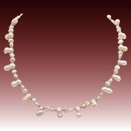 Vintage Pink Baroque Seed Pearl Necklace