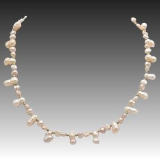 Vintage Pink Baroque Seed Pearl Necklace