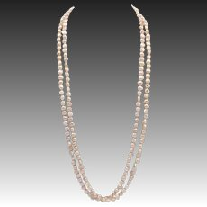 Vintage Long Pink Seed Pearl Necklace