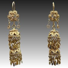 12KT Yellow Gold Vintage Chandelier Flower Earrings