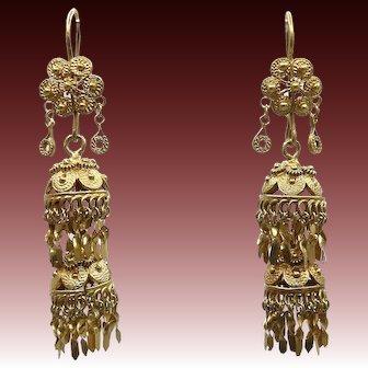 12KT Yellow Gold Vintage Chandelier Flower Earrings