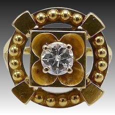 18 KT Gold Victorian Era Diamond Flower Ring