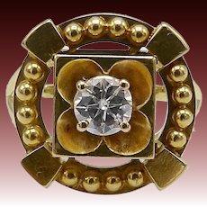 18 KT Gold Victorian Era Diamond Flower Ring
