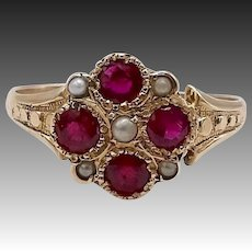 Victorian Seed Pearl and Ruby 14KT Gold Ring