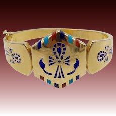 Vintage 18KT Gold Egyptian Bangle Bracelet