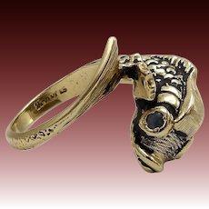 Vintage 14KT Gold & Sapphire Gemstone Fish Ring