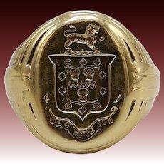 Antique European 14KT Gold Crest Signet Ring