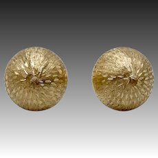 14KT Gold Florentine Finish Cabochon Earrings