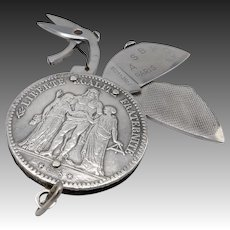 900 Silver 1873 French Franc Folding Pocket Knife Coin