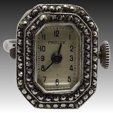 Art Deco Sterling Silver & Marcasite Watch Ring