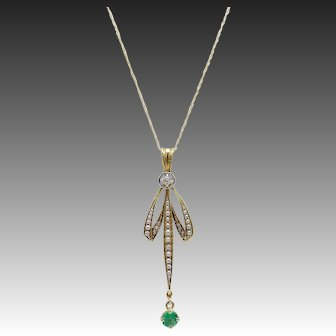 Edwardian 14KT Gold Pearl & Diamond & Emerald Lace Pendant on Chain