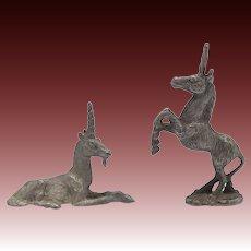 Vintage Unicorn Pair Pewter Spoontique Figurines
