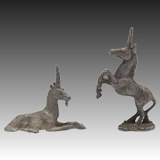 Vintage Unicorn Pair Pewter Spoontique Figurines