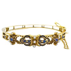 Victorian Sapphire, Pearl, & Black Enamel 14K Gold Bracelet
