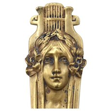French Art Nouveau Gibson Girl Inspired Bronze Page Turner