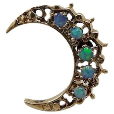 Opal Crescent Moon 14KT Gold Pin