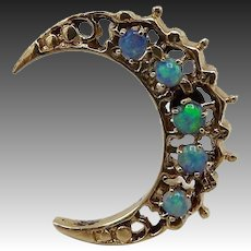 Opal Crescent Moon 14KT Gold Pin