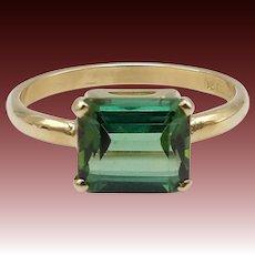 Vintage Green Tourmaline 14KT Gold Ring
