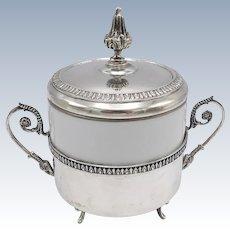 Vintage Richard Ginori 800 Silver& Porcelain Sugar Pot