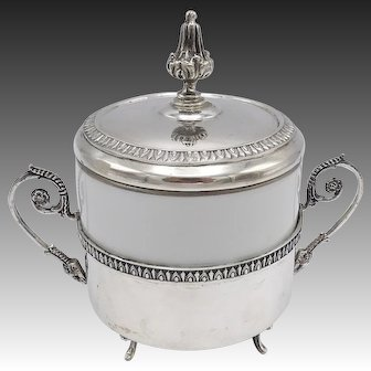 Vintage Richard Ginori 800 Silver& Porcelain Sugar Pot