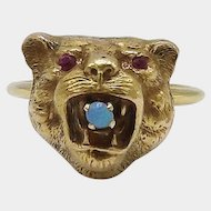 14KT Gold, Opal and Ruby Lioness Ring