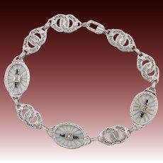 10KT White Gold Edwardian Bracelet with Blue Sapphires & Diamonds