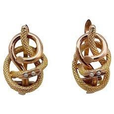 Victorian era 14KT Gold & Pearls Snake Lover's Knot Earrings