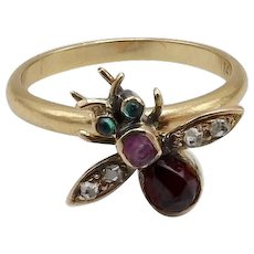 Garnet, Diamond, Emerald and Sapphire Fly Ring